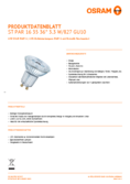 Data sheet Osram LED STAR PAR16 35 3,3W 827 GU10