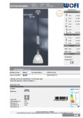 Data sheet WOFI pendant light SAVANNAH 1-flame