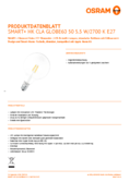 Hersteller Datenblatt Osram SMART+ APPLE HOME KIT FILAMENT EDISON60 E27