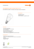 Data sheet Osram LED Lamp Classic A60 E27 9W, warmwhite