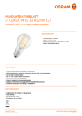 Data sheet Osram LED RETROFIT A94 11W E27 clear non dim