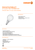 Spécifications Osram LED STAR RETROFIT matt CLP 40 4W E14 840 non dim