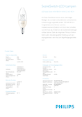 Data sheet Philips SceneSwitch LEDcandle 5.5-40W E14 827 B38 klar