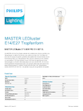 Data sheet Philips MASTER LEDlustre klar 8-60W 827 E14 P50 DIMTONE