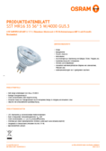 Data sheet Osram LED SST DIM MR16 35 36° 5W 840 GU5.3