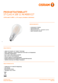 Data sheet Osram LED STAR RETROFIT matt CLA 100 11W 840 E27 non dim