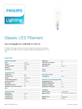 Data Sheet Philips Classic LEDcandle 4-40W E14 827 B35 klar