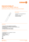 Spécifications Osram SubstiTube Advanced UO 24W 1500mm 830 EM T8