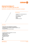 Data sheet Osram SubstiTube Value 8W 600mm 865 EM T8