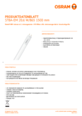 Data sheet Osram SubstiTube Advanced 20W 1500mm 865 EM T8