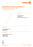 Data sheet Osram LEDINESTRA40 6W 827 matt S14S