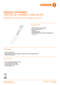 Data sheet Osram SubstiTube Star T8 1200mm 16,2W 865 EM