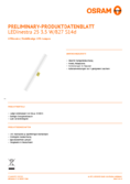 Data sheet Osram LEDINESTRA25 3,5W 827 matt S14D