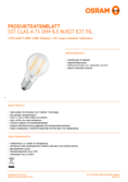 Hersteller Datenblatt Osram LED SUPERSTAR FILAMENT klar DIM CLA 75 8,5W 827 E27