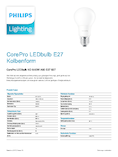 Data sheet Philips CorePro LEDbulb 8-60W A60 E27 827 matt