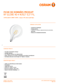 Spécifications Osram LED RETROFIT GLOBE 40 4,5W 827 E27