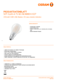 Hersteller Datenblatt Osram LED SUPERSTAR RETROFIT matt DIM CLA 75 8,5W 840 E27