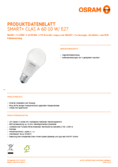 Data sheet Osram Smart+ CLAS A60 E27 RGBW