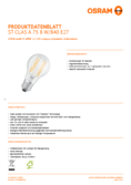 Data sheetOsram LED STAR FILAMENT klar CLA 75 8W 840 E27 non dim
