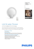 Data sheet Philips Hue Buckram LED table lamp white with dimmer switch