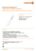 Data sheet Osram SubstiTube Split Control UO 15W 1200mm 840 230V EM T8