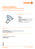 Spécifications Osram LED STAR  PAR16   80 non-dim 120° 6,9W 827 GU10