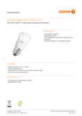Data sheet Osram Star Classic LED E27 5.8W FR, warmwhite