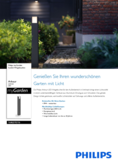 Data sheet Philips myGarden outdoor light Arbour 6W