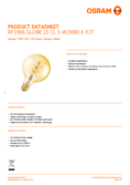 Data sheet Osram LED VINTAGE 1906 GLOBE125 GOLD25 non-dim 5W 820 E27