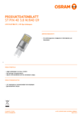 Spécifications Osram LED STAR  PIN 40 klar non-dim  3,8W 840 G9
