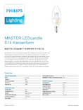 Spécifications Philips MASTER LEDcandle klar 8-60W 827 E14 B40 DIMTONE