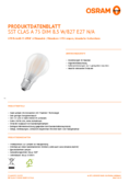 Hersteller Datenblatt Osram LED SUPERSTAR matt RETROFIT DIM CLA 75 8,5W 827 E27