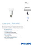 Data sheet Philips Hue LED E27 extension RGBW 10W