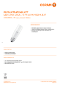 Hersteller Datenblatt Osram LED STAR CL STICK  FR 77 non-dim 10W 840 E27