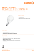 Data sheet Osram Superstar Classic LED Bulb E14 5,3W, warmwhite, frosted