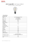 Data sheet Toshiba Filament E27 2700K 6W