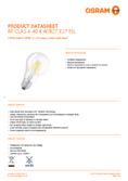 Data sheet Osram LED RETROFIT CLASSIC A 40 4W 827 E27 CL