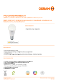 Data sheet Osram Smart+ Apple Homekit E27 CLA60 RGBW