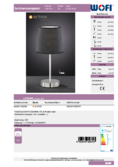 Data sheet WOFI table lamp CESENA black