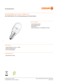 Data sheet Osram LED STAR T26 20 2,2W 865 frosted E14
