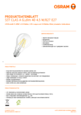 Data sheet Osram LED STAR+ GLOWdim FIL CLA 40 5W E27
