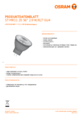 Hersteller Datenblatt Osram LED STAR MR11 20 36° 2,9W 827 12V GU4