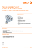 Spécifications Osram LED STAR MR16 (GU5.3) 50 36° 8W 827