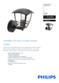 Data sheet Philips myGarden wall light Creek, black, standing