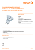 Spécifications Osram LED STAR PAR16 35 3,3W 840 GU10