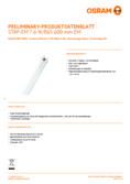 Data sheet Osram SubstiTube Pure T8 600mm 7,6W 865 EM