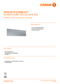 Spécifications Osram PLANON PURE Panel 36W 30x120 830
