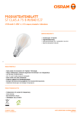 Spécifications Osram LED STAR RETROFIT matt CLA 75 8W 840 E27  non dim