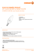 Spécifications Osram LED SST DIM CLB40 5,7W 827 diffuse E14