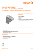 Data sheet Osram LED SST DIM MR11 20 AD 2,6W 827 12V GU4